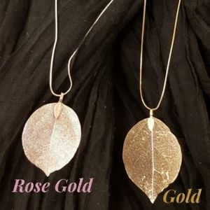 Real Leaf Long Necklace Filigree Pendant